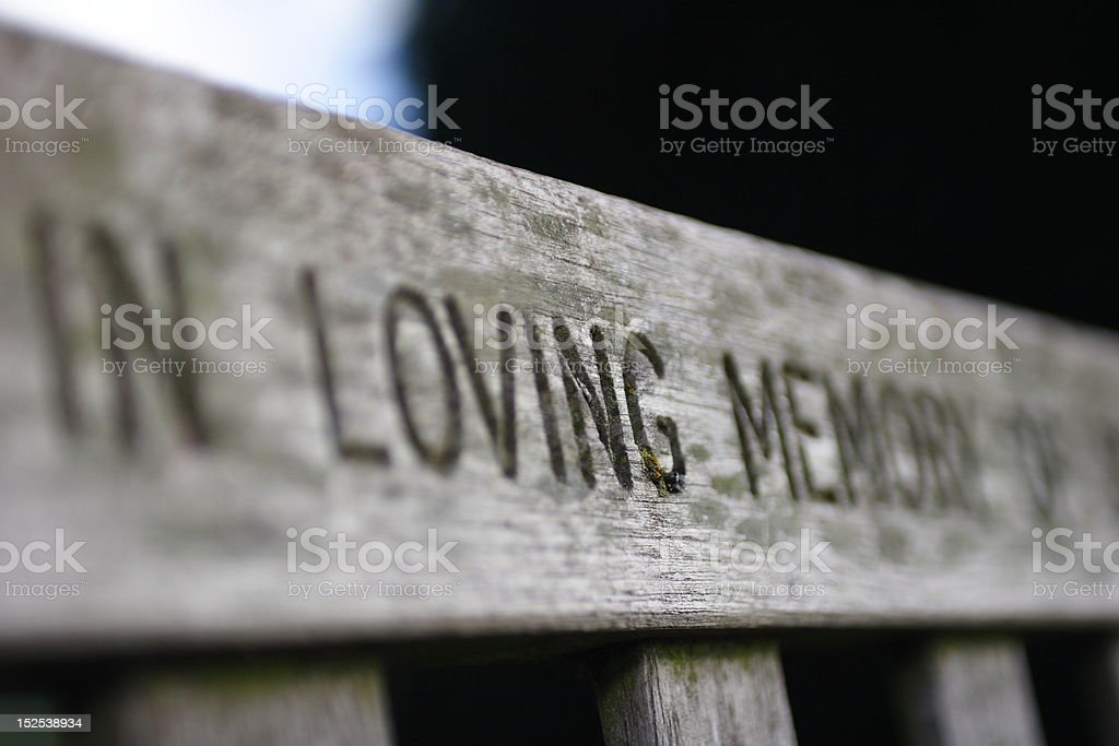 Memorial bench stock photo