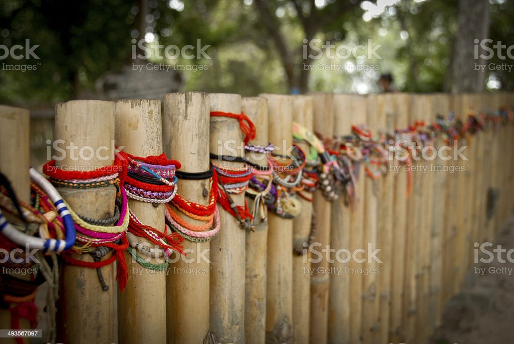 Memorial bracelets at the Killing Fields, Phnom Penh, Cambodia stock photo