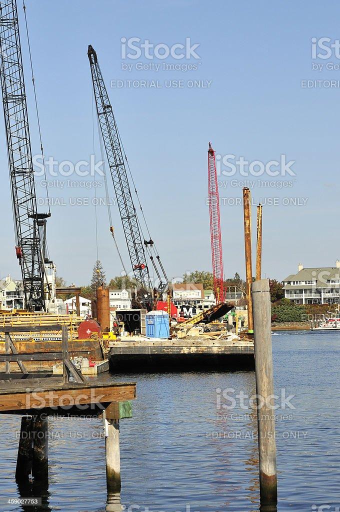 Memorial Bridge Construction on Piscataqua River stock photo