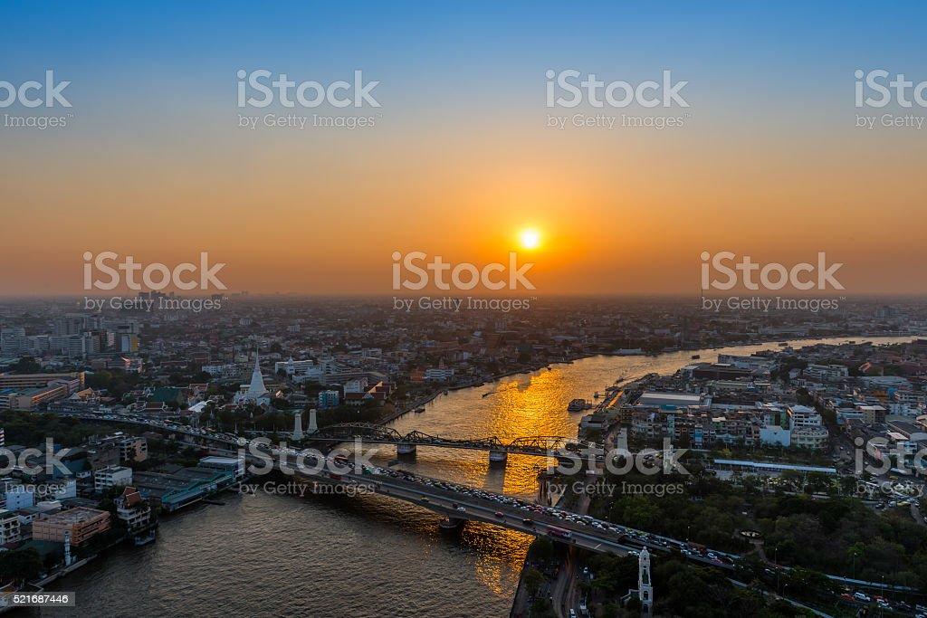 Memorial Bridge from top view.Bangkok Cityscape,Thailand stock photo