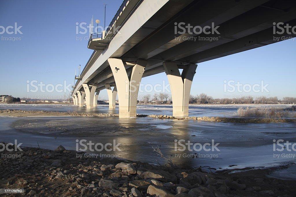 Memorial Bridge in Winter at Bismarck, ND stock photo