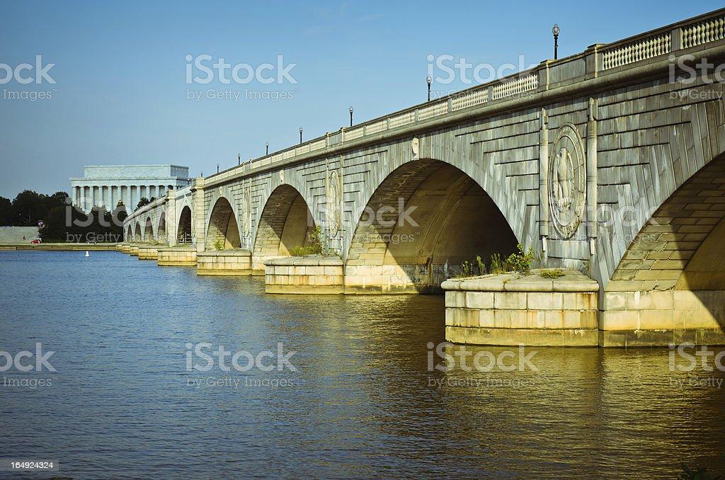 Memorial bridge over river in Washington stock photo