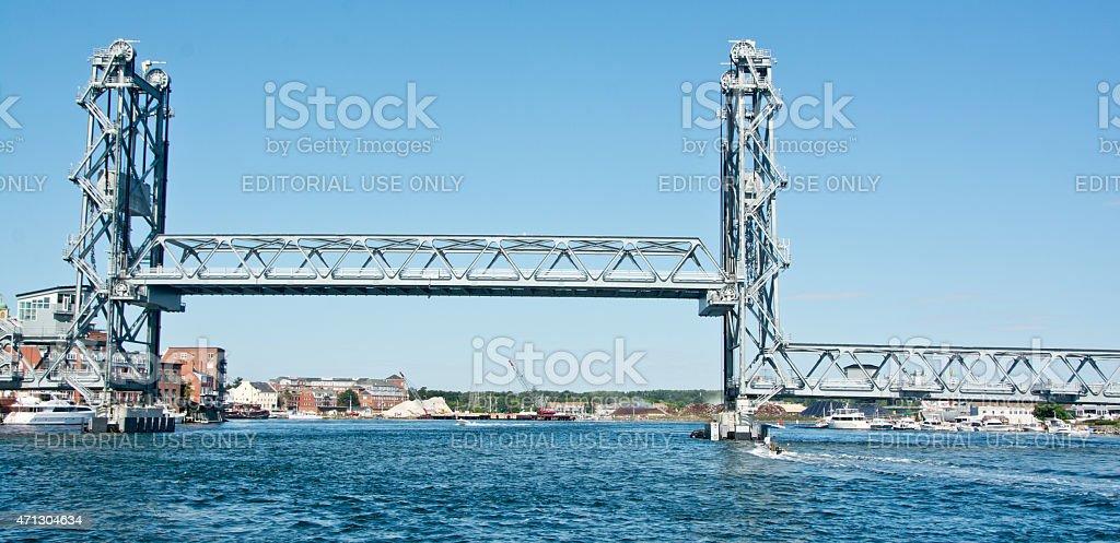 Memorial Bridge raised for boat traffic stock photo