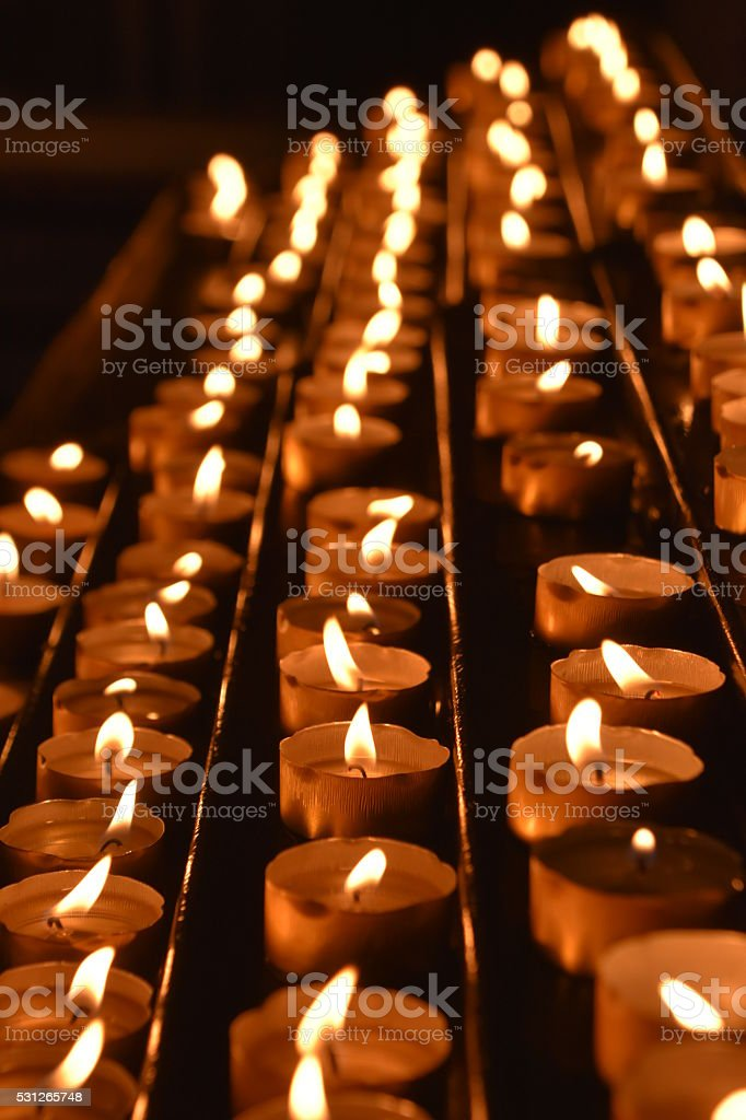 Memorial candles In a row stock photo