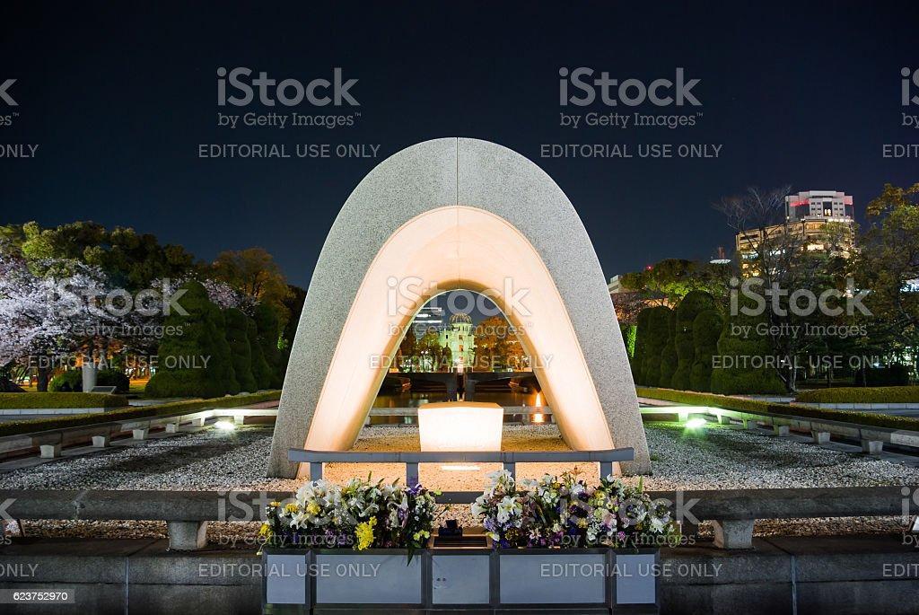 Memorial cenotaph in Hiroshima Peace Memorial Park stock photo