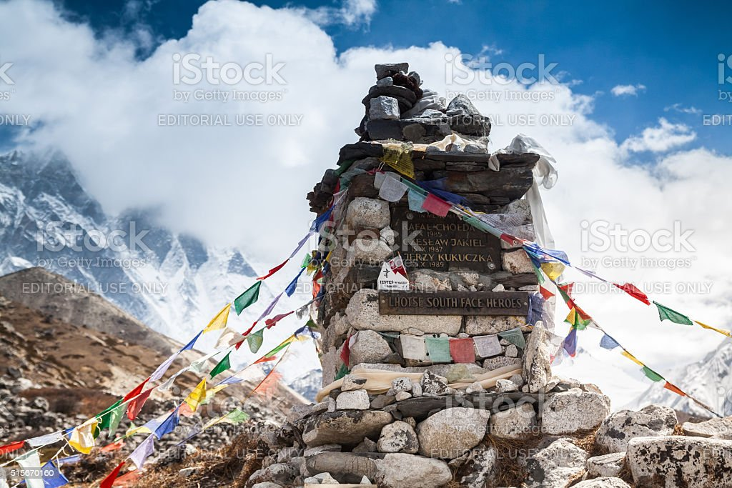 Memorial climbers died while attempting to climb of Lhotse. stock photo
