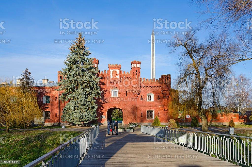 Memorial complex Brest Fortress. Kholm Gate and bridge across Mukhavets stock photo