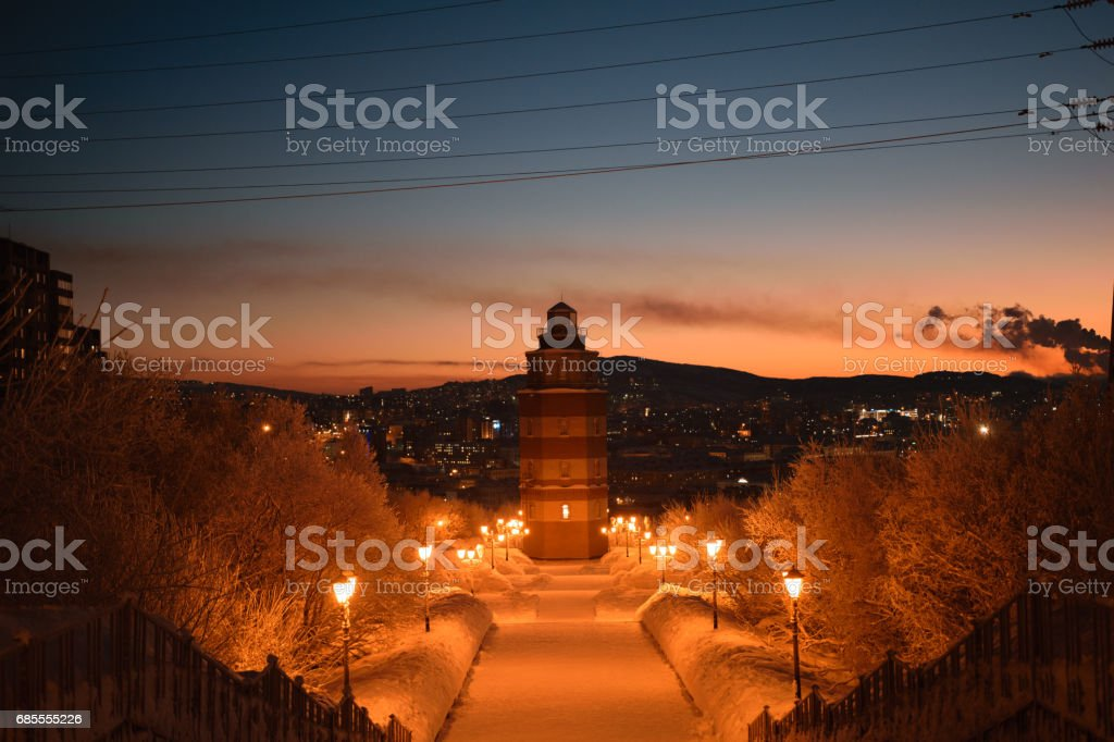 Memorial Complex to the Soldiers and Seamen Who Died in Peaceful Time in Murmansk, Kola Peninsula, Russia stock photo