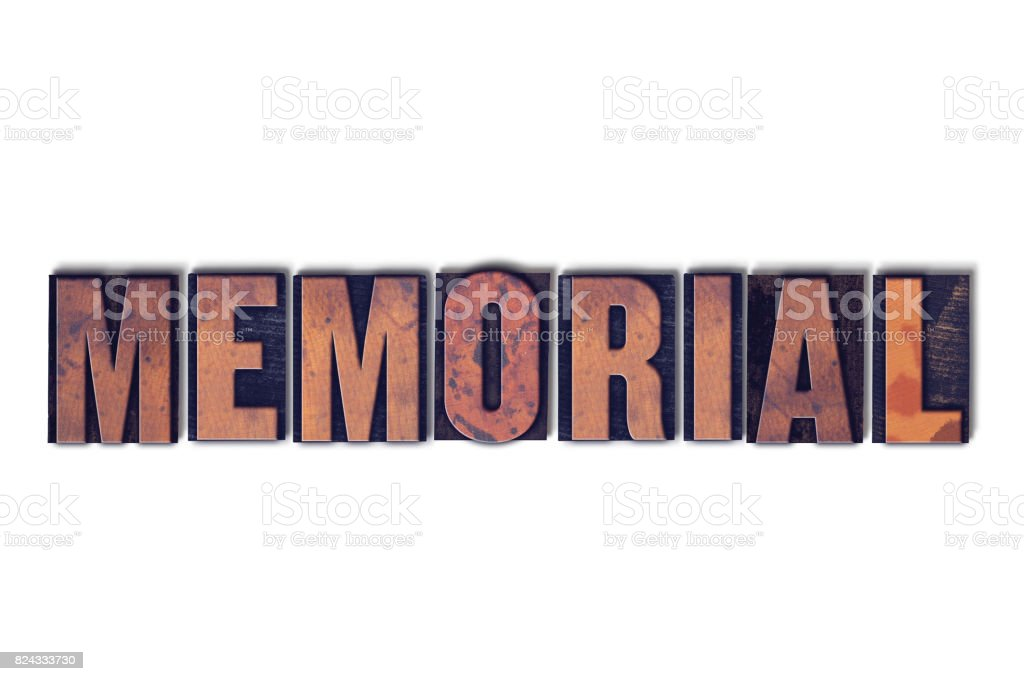 Memorial Concept Isolated Letterpress Word stock photo