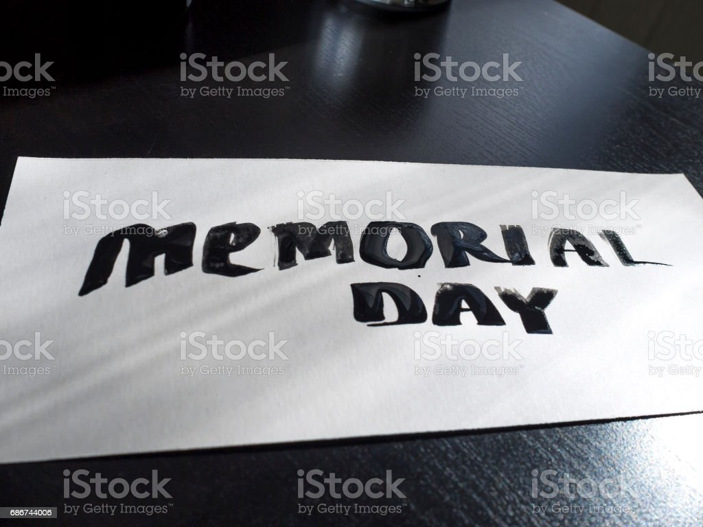 Memorial day calligraphy and lettering post card. Perspective and clear view stock photo