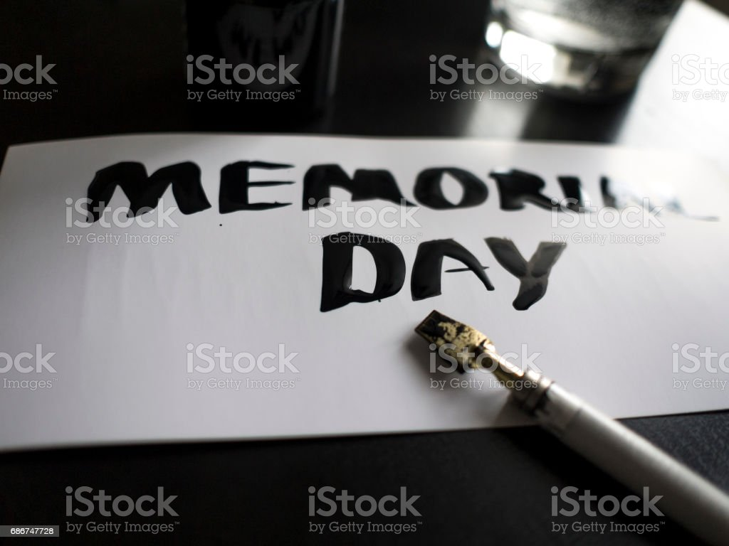 Memorial day calligraphy and lettering post card. Perspective and close-up view stock photo