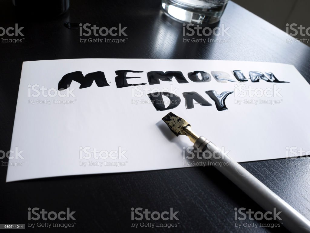 Memorial day calligraphy and lettering post card. Perspective view stock photo