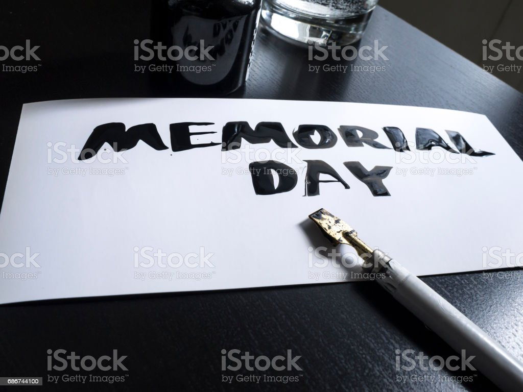 Memorial day calligraphy and lettering post card. Perspective view. Wild pen in calligraph stock photo