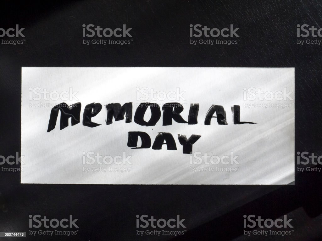 Memorial day calligraphy and lettering post card. Top and clear view stock photo