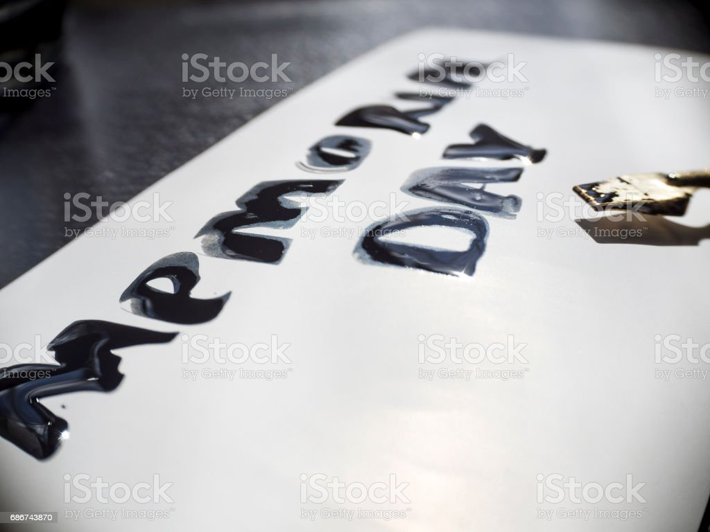 Memorial day calligraphy and lettering post card with wide pen. Extremely close-up stock photo