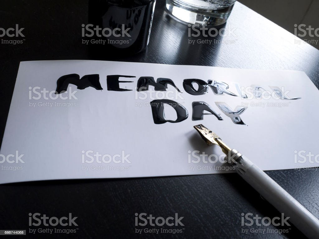 Memorial day calligraphy and lettering post glossy card. Perspective view stock photo