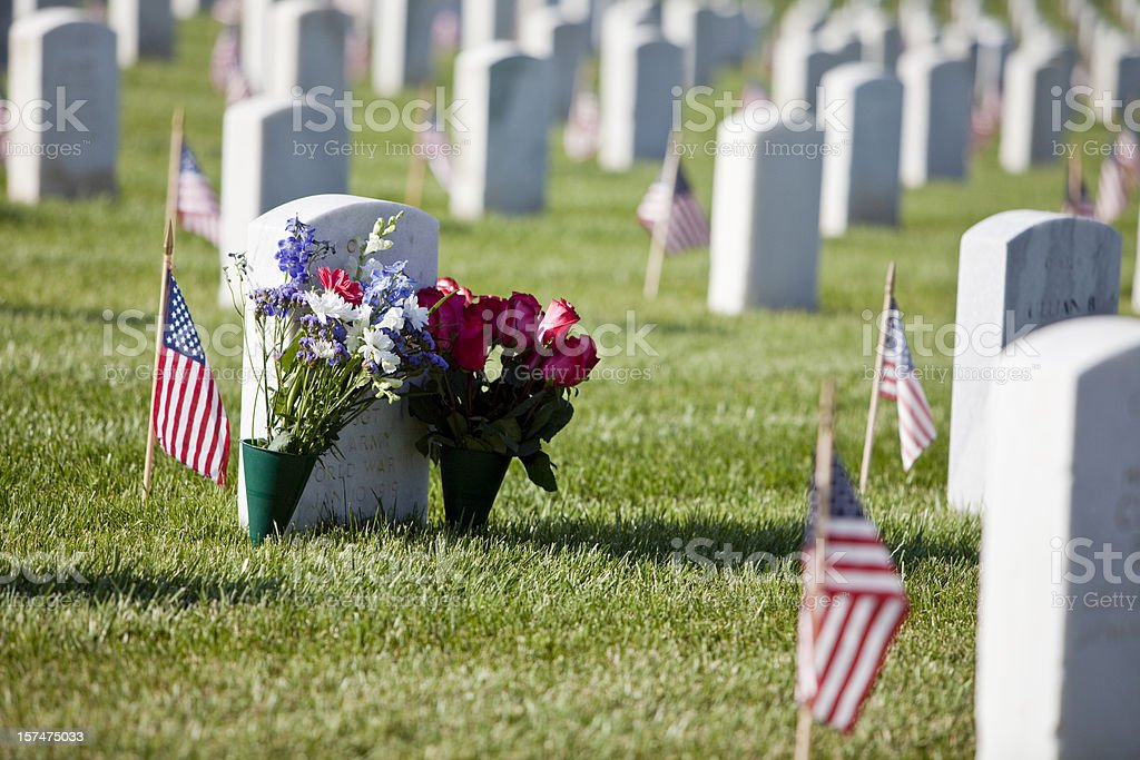 Memorial Day flowers at the Cemetery stock photo