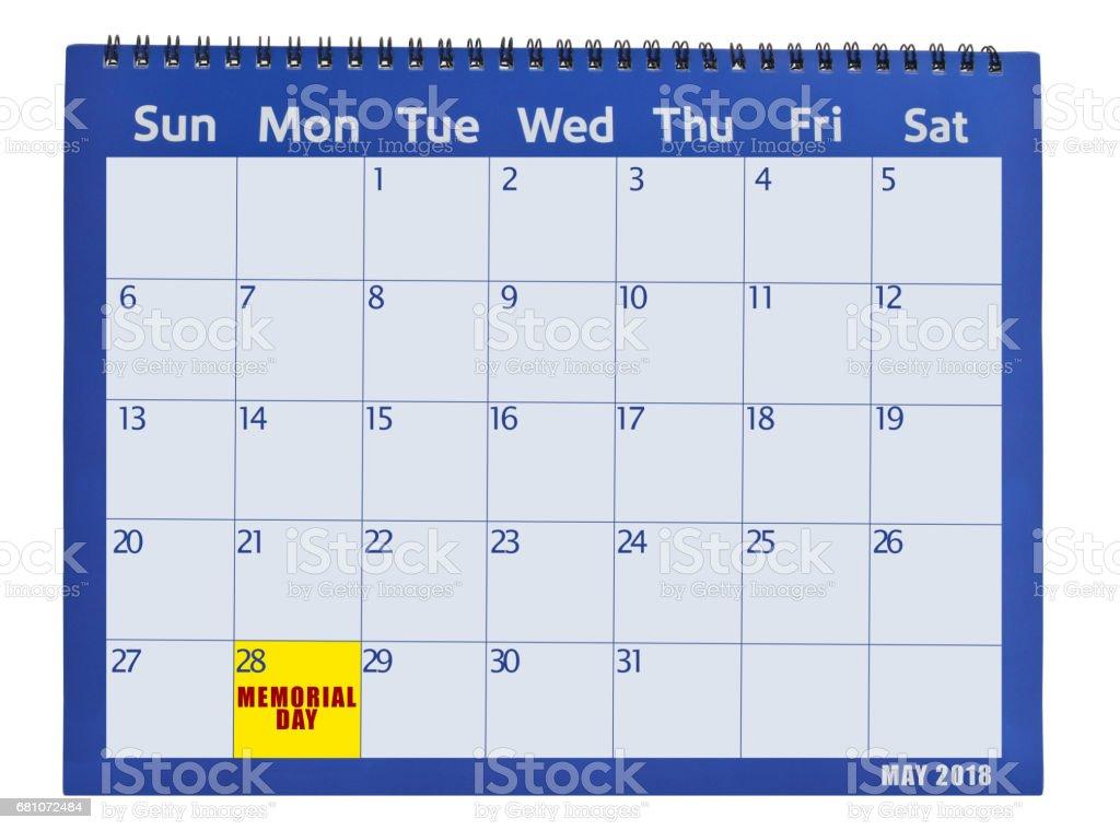Memorial Day May 2018 Calendar stock photo