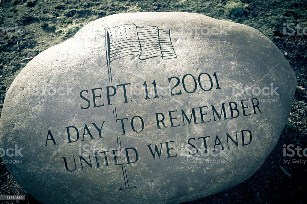 9-11 Memorial Etched into a Large Round Granite Rock stock photo