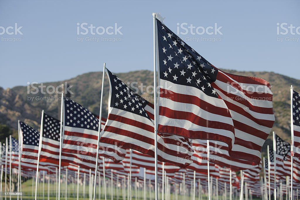 911 memorial, field of flags royalty-free stock photo