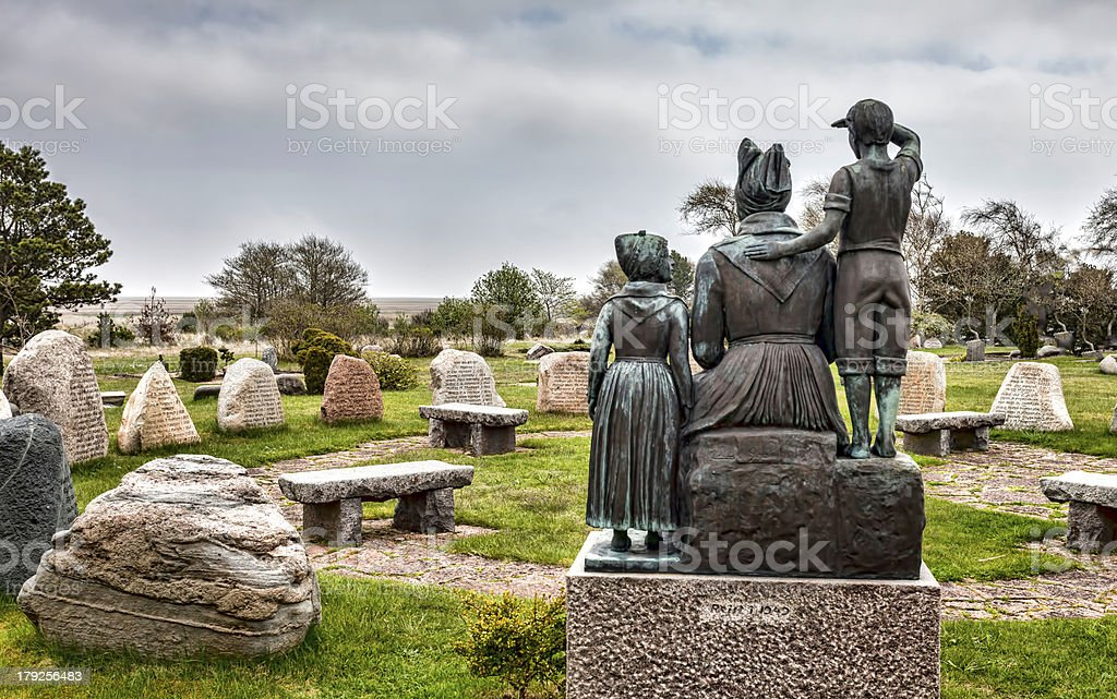 Memorial for dead fishermen in Sonderho on Fano, Denmark stock photo