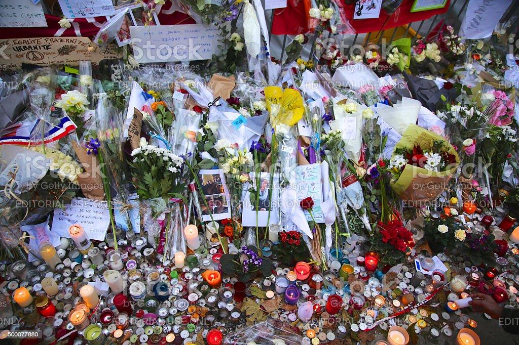 memorial for terrorist attack in Paris, France. stock photo