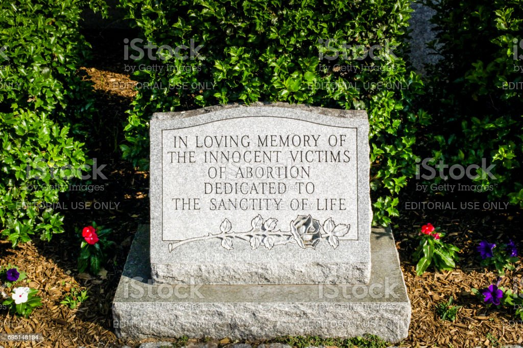 Memorial headstone to aborted children outside the Grace United Methodist Church in downtown Harrisburg, Pennsylvania USA stock photo