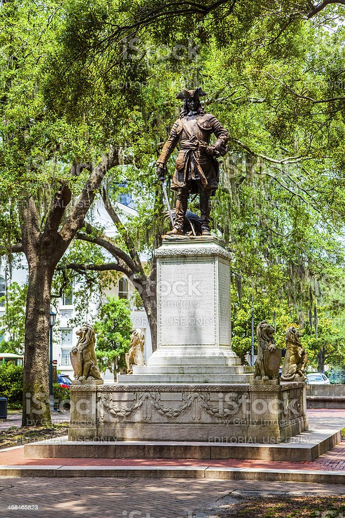 memorial in Savannah for General Oglethorpe royalty-free stock photo