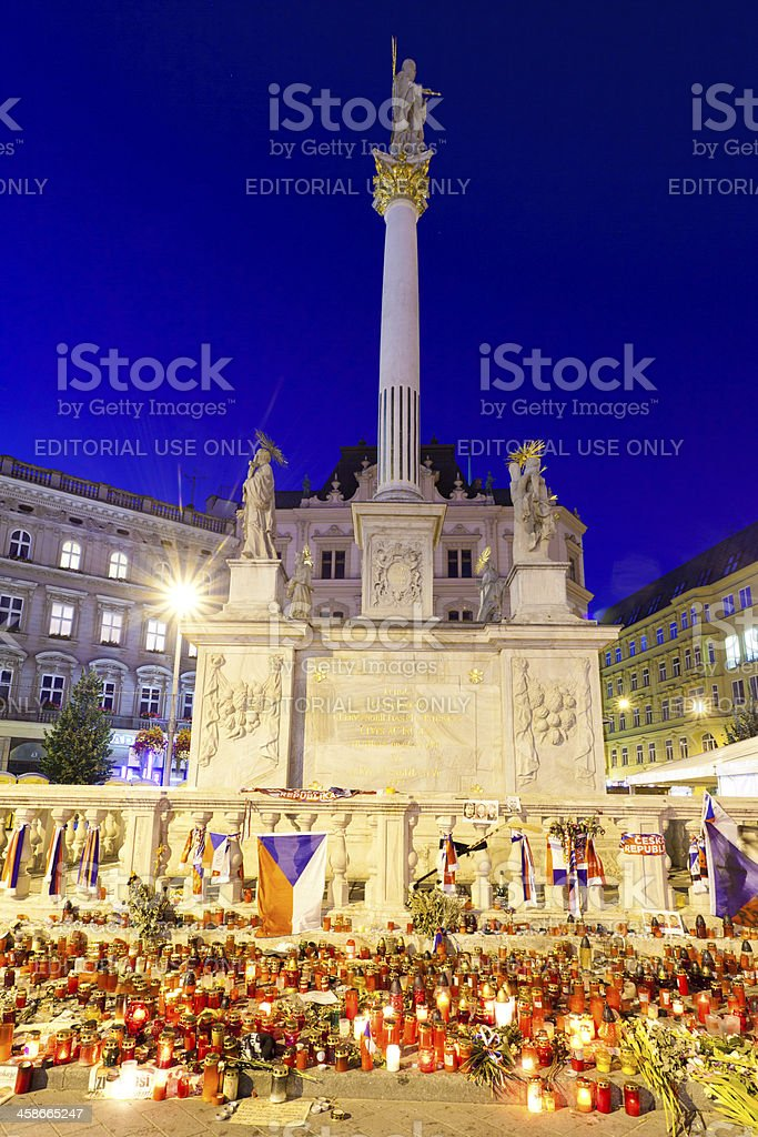 Memorial in the main square of Brno, Czech Republic royalty-free stock photo