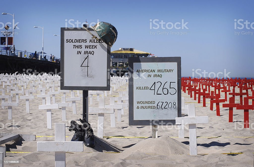 Memorial of Soldiers Lost Iraq War, Santa Monica Beach, USA royalty-free stock photo
