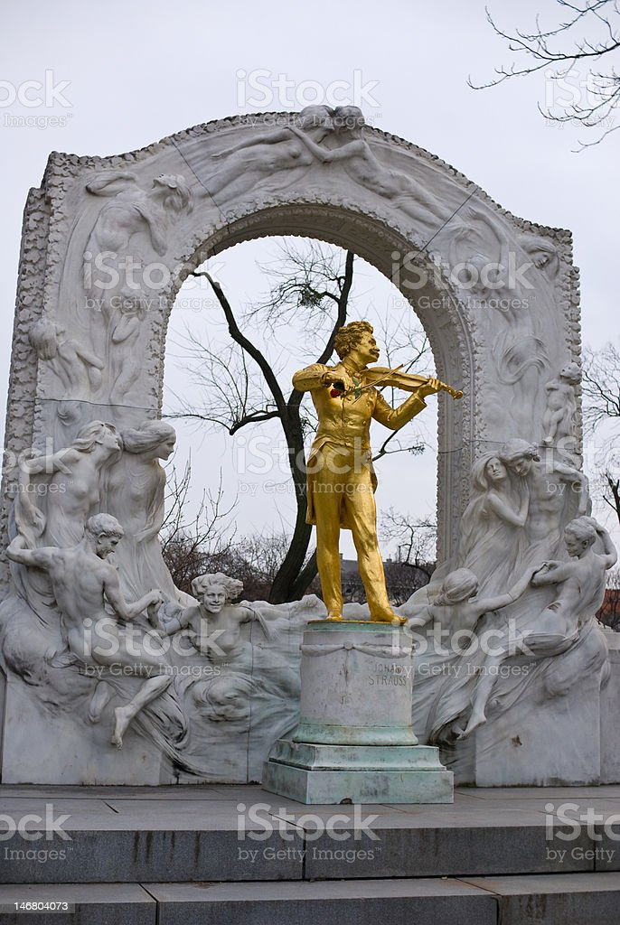memorial of the waltz-king stock photo