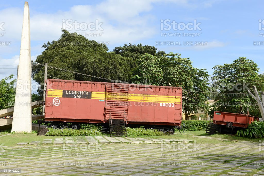 Memorial of train captured by Che Guevara's forces stock photo
