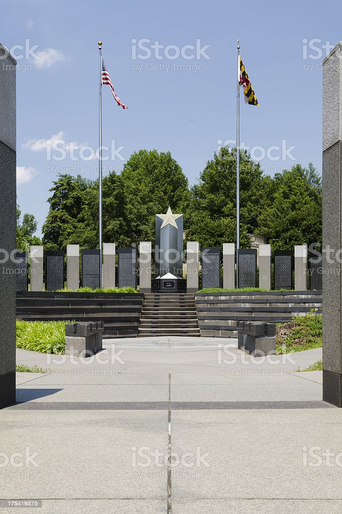 WWII Memorial Overlooking Annapolis, Maryland stock photo