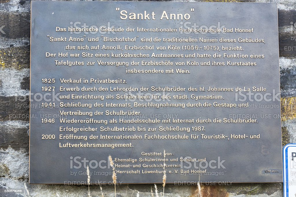 Memorial plaque at the former school St Anno stock photo