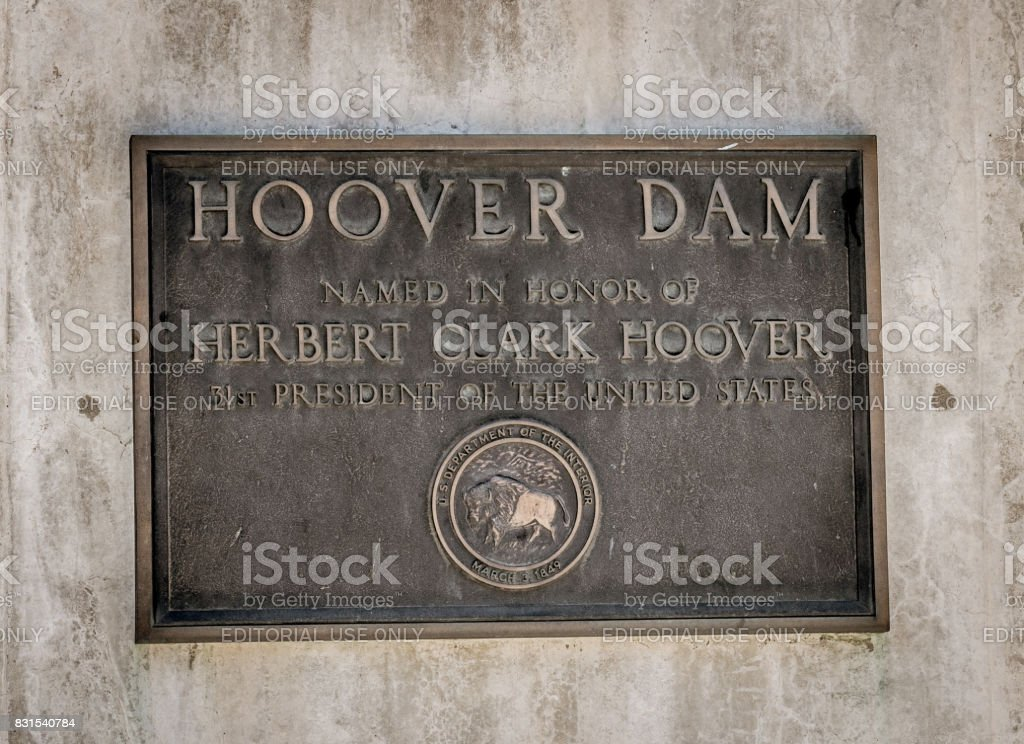 Memorial plaque in honor of workers and builders of the Hoover Dam stock photo