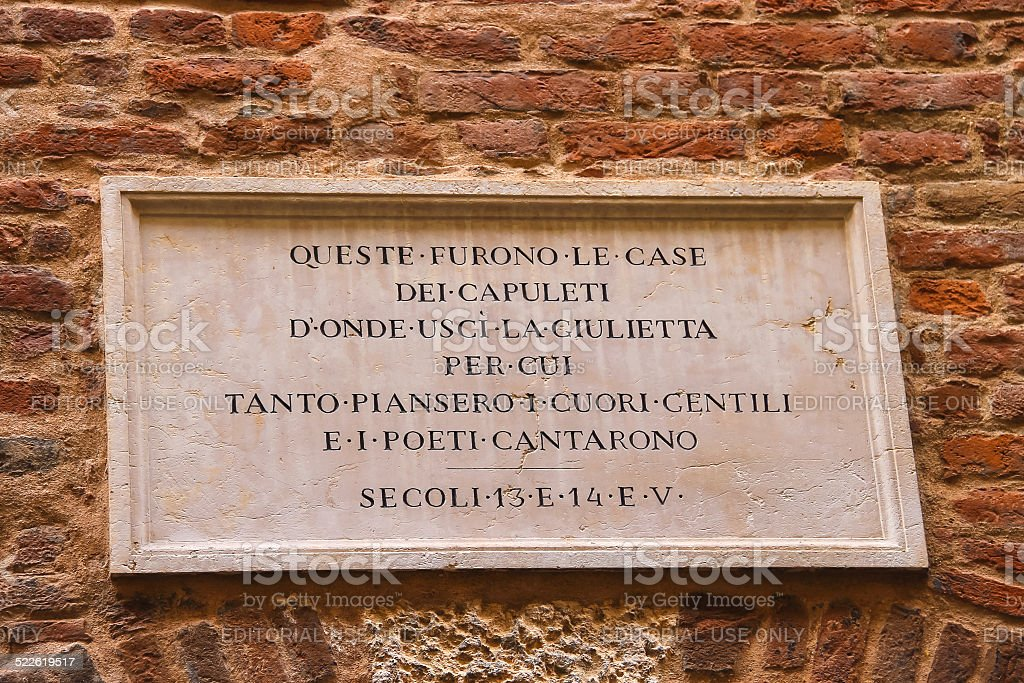 Memorial plaque on wall of  house Juliet in Verona, Italy stock photo