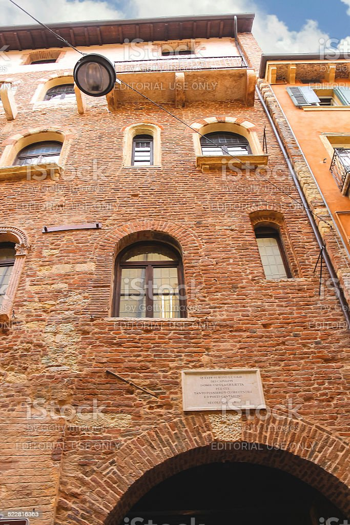 Memorial plaque on wall of  house Juliet in Verona stock photo