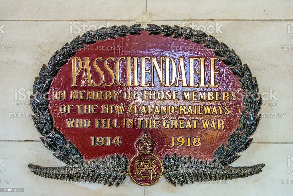 Memorial plate at Dunedin railway station, New Zealand stock photo