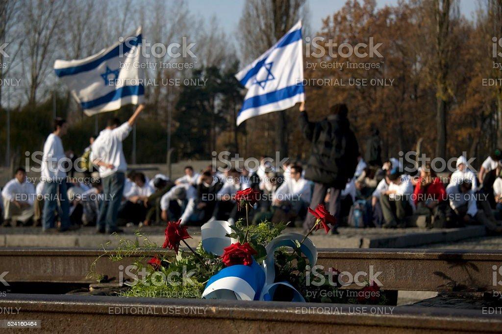 memorial service at Auschwitz stock photo