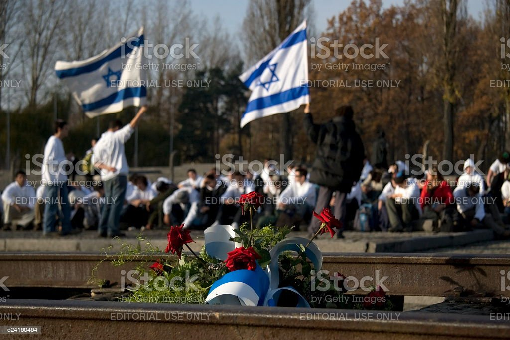 memorial service at Auschwitz stock photo