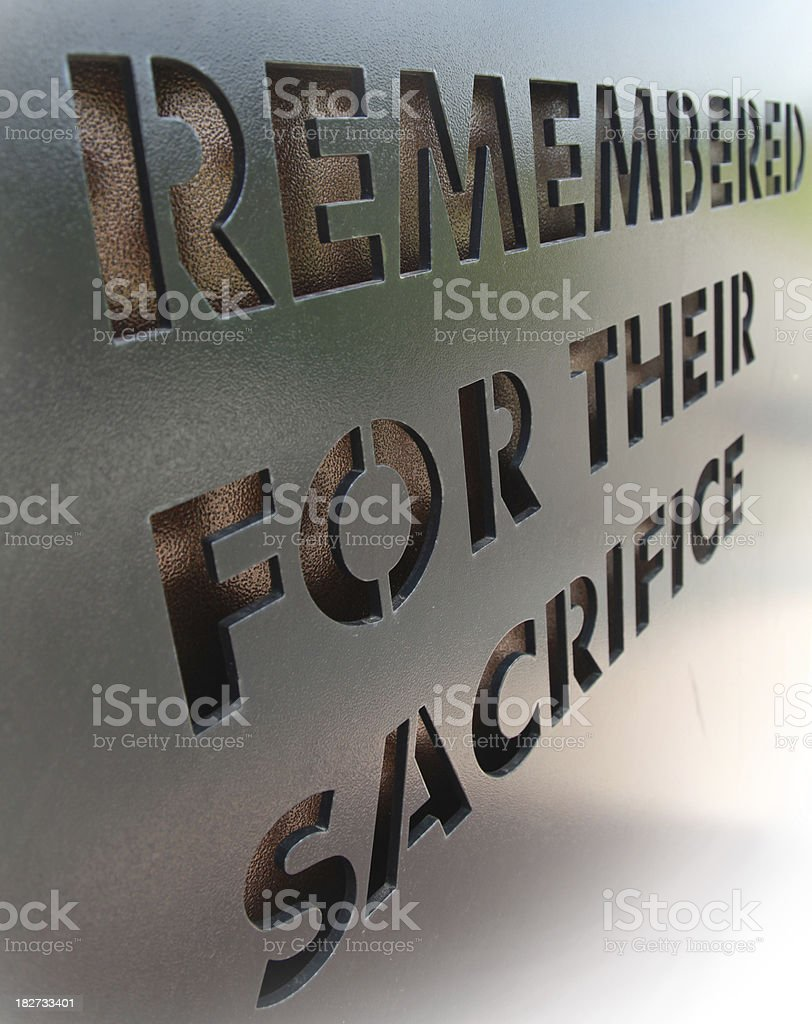Memorial sign to remember the sacrifices given royalty-free stock photo