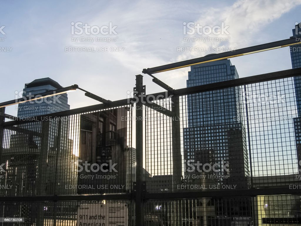 9/11 Memorial site with buildings stock photo