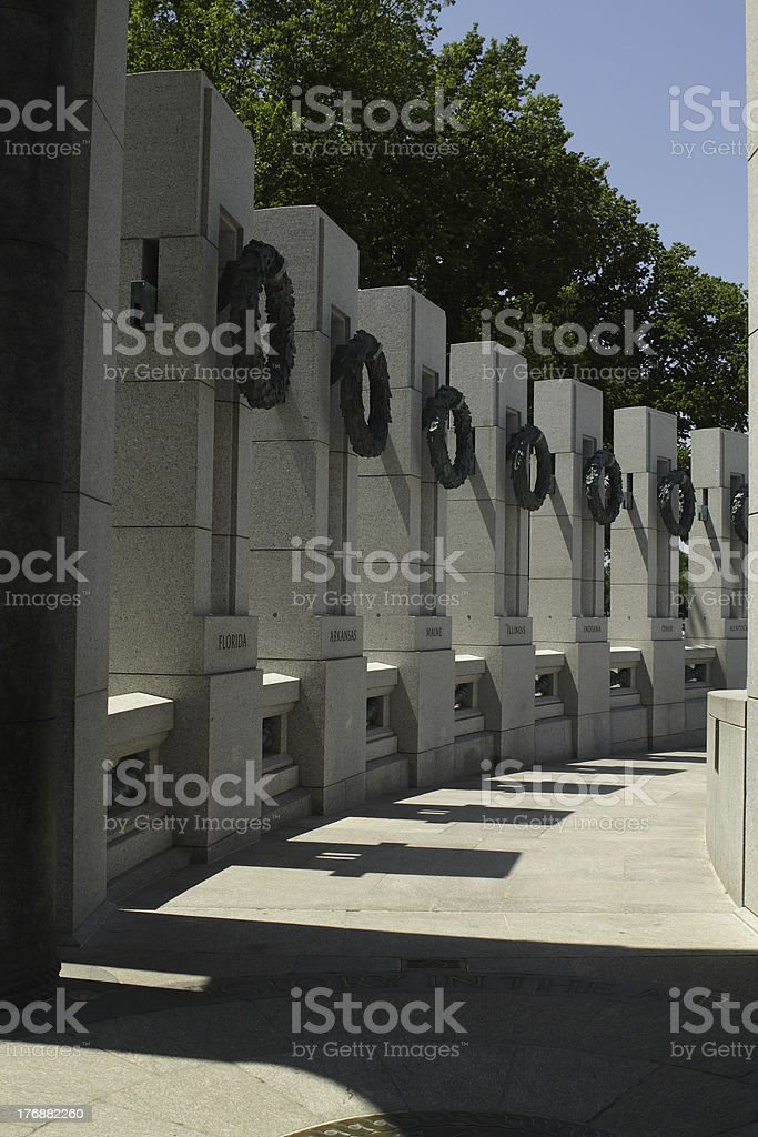 WWII Memorial states royalty-free stock photo