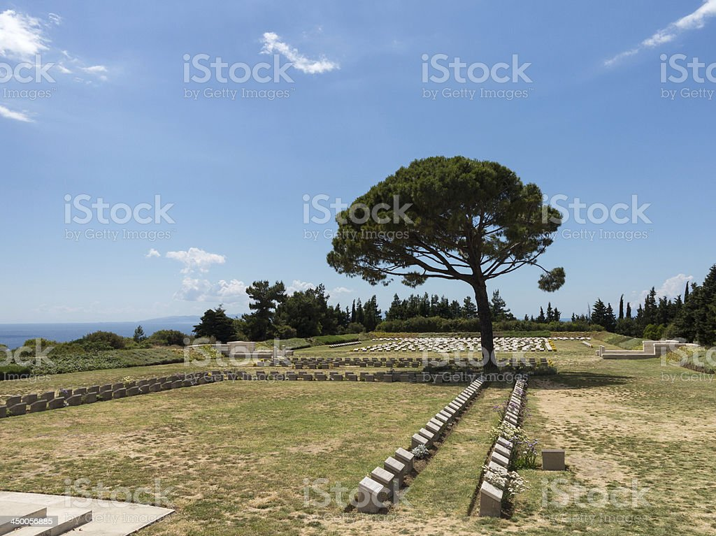 Memorial stone at Anzac Cove Gallipoli stock photo