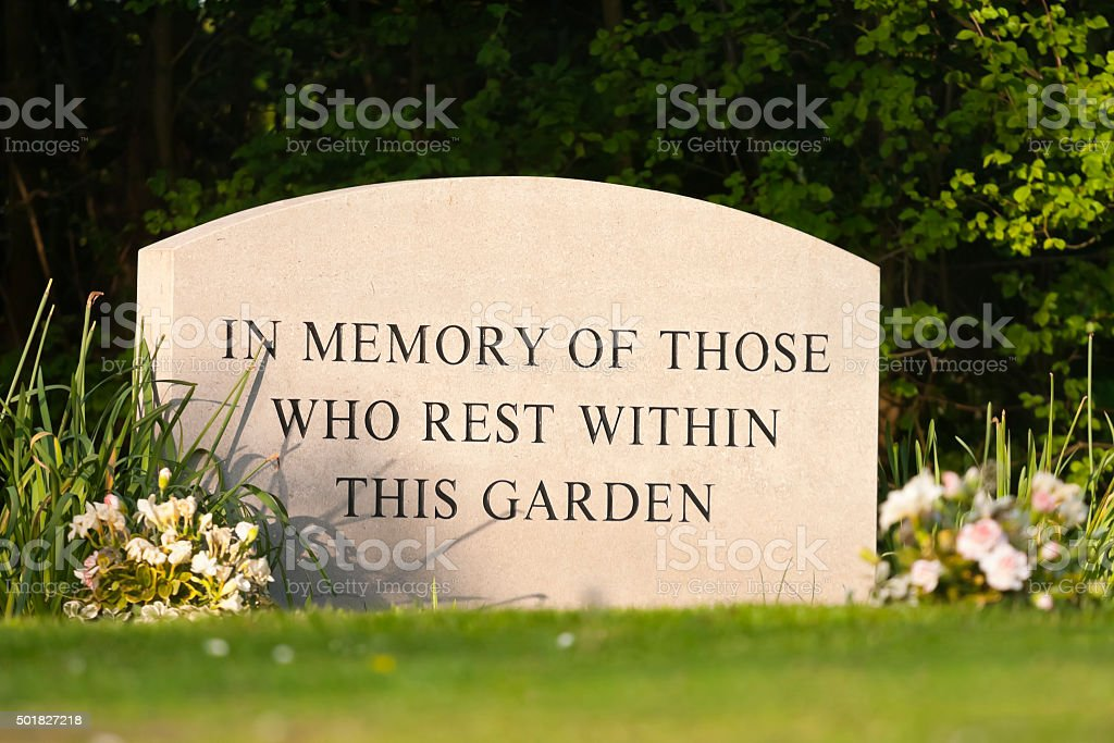 Memorial Stone in Garden of Rest stock photo