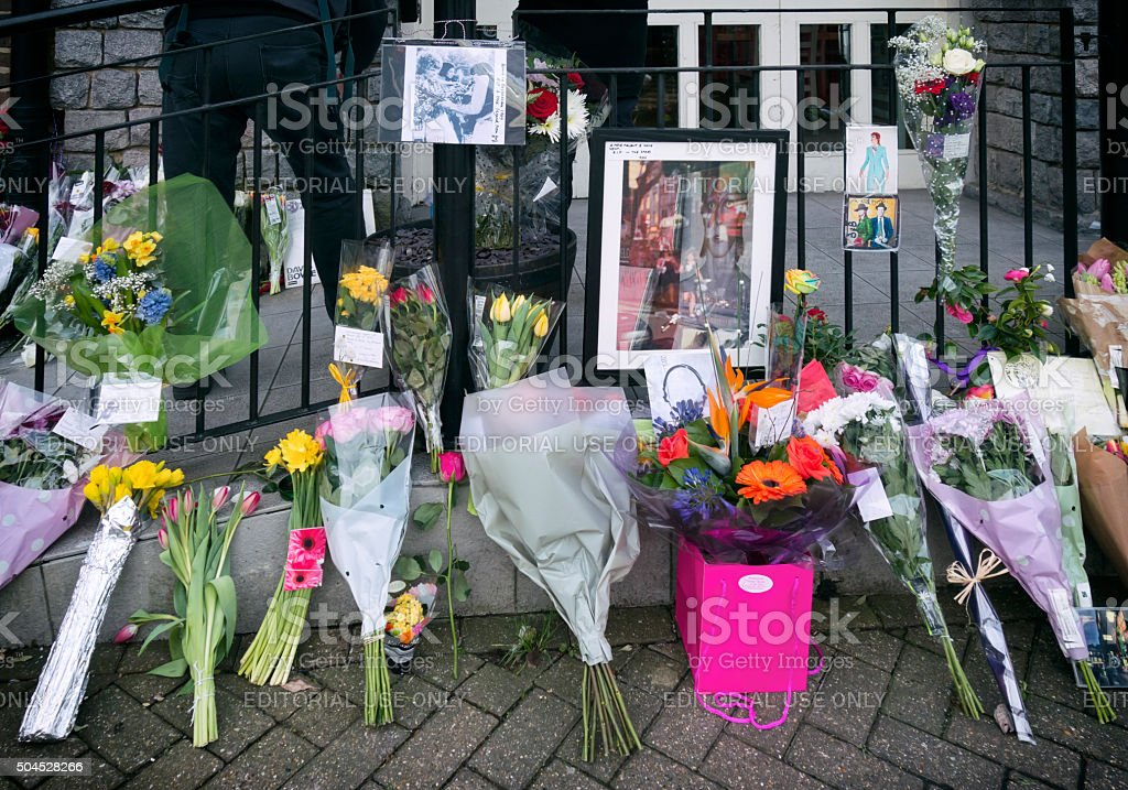 Memorial to David Bowie in Beckenham stock photo