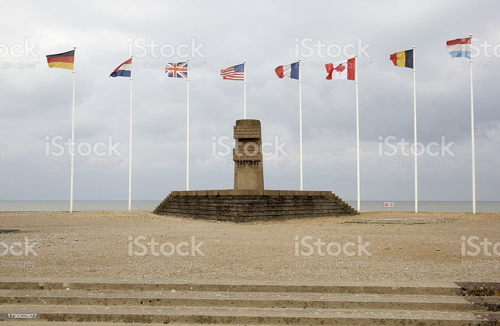 Memorial to WW2 soldiers Juno Beach Normandy stock photo