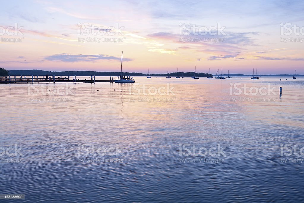 Memorial Union Sunset in Madison, Wisconsin stock photo
