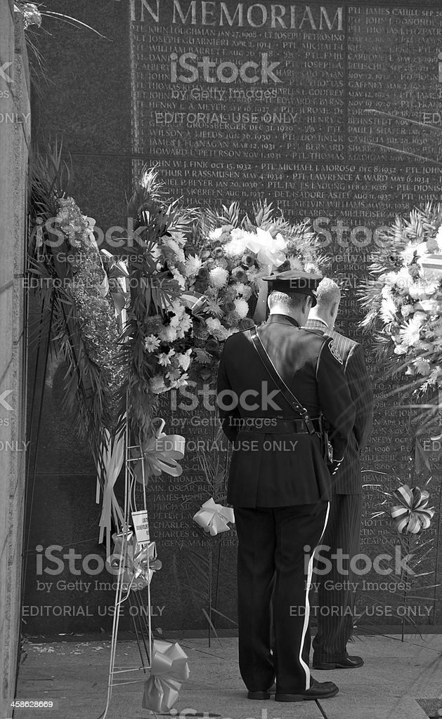 NYPD Memorial Wall ceremony, September 9, 2011, NYC royalty-free stock photo
