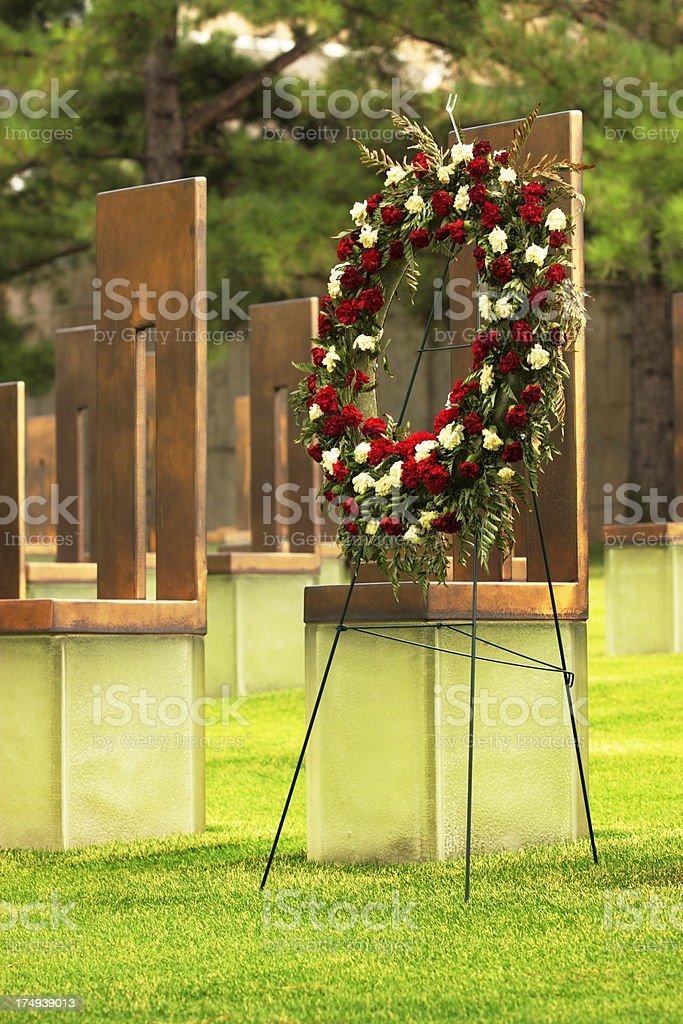 Memorial Wreath Victim Shrine Oklahoma City royalty-free stock photo